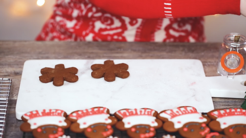 Time lapse. Step by step. Decorating gingerbread cookies with royal icing.   Shutterstock HD Video #1044885499