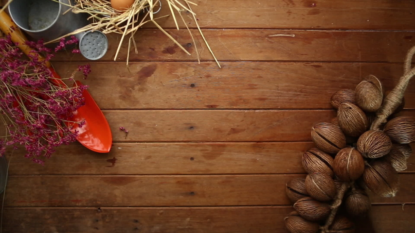 Agriculture products on wooden table composition. Flat layout of agriculture concept for background. Free space for text.   Shutterstock HD Video #1044912139