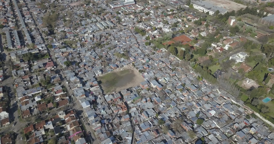 Aerial view of a poor village, Cava, San Isidro, Buenos Aires, Argentina. | Shutterstock HD Video #1045024189