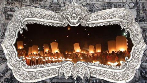 SANSAI, CHIANGMAI, THAILAND - OCT 25, 2015: Yee Peng Festival, Loy Krathong celebration with more than a thousand floating lanterns in Chiangmai, Thailand on October 25, 2014