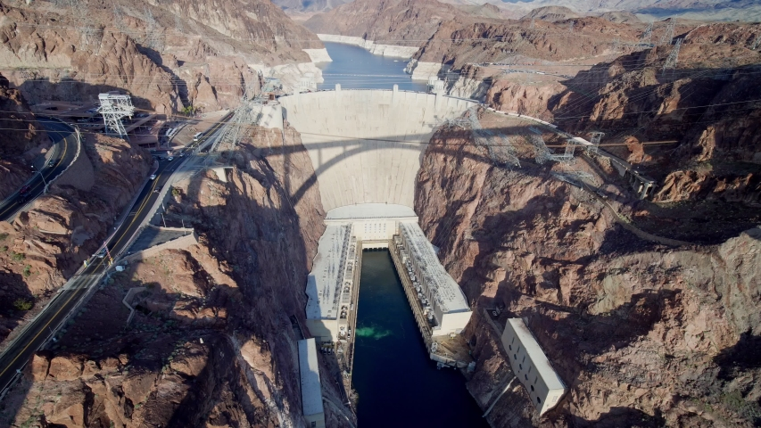 Afternoon high angle view of the famous Hoover Dam at Nevada | Shutterstock HD Video #1045175149