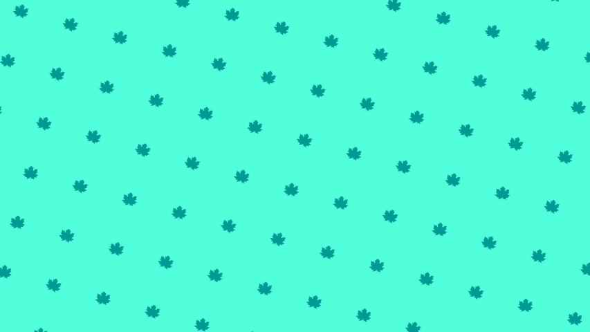 Abstract colorful pattern of small green leaves rotating and moving down on the turquoise background. Animation. Seamless loop animation | Shutterstock HD Video #1045197409