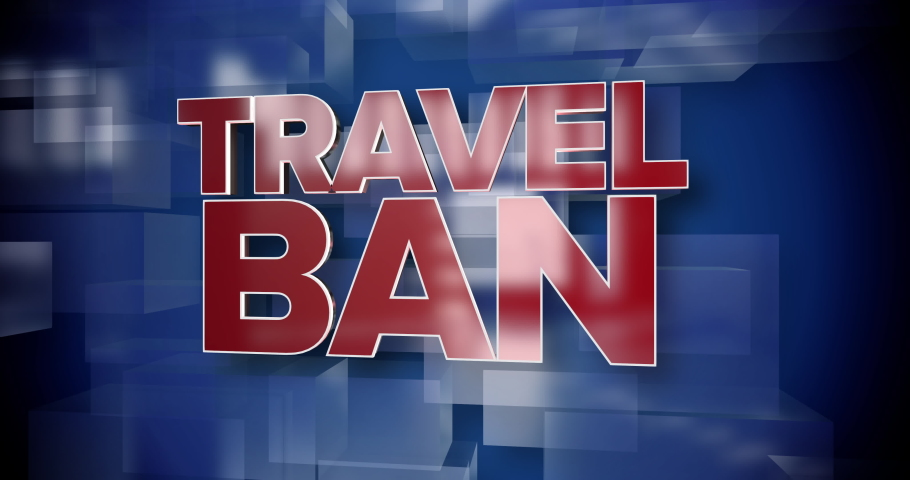 A red and blue dynamic 3D Travel Ban title page animation.   | Shutterstock HD Video #1045823449
