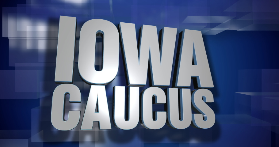 A blue dynamic 3D Iowa Caucus news transition and title page animation. 5 and 2 second options included. Green screen.   | Shutterstock HD Video #1046096299
