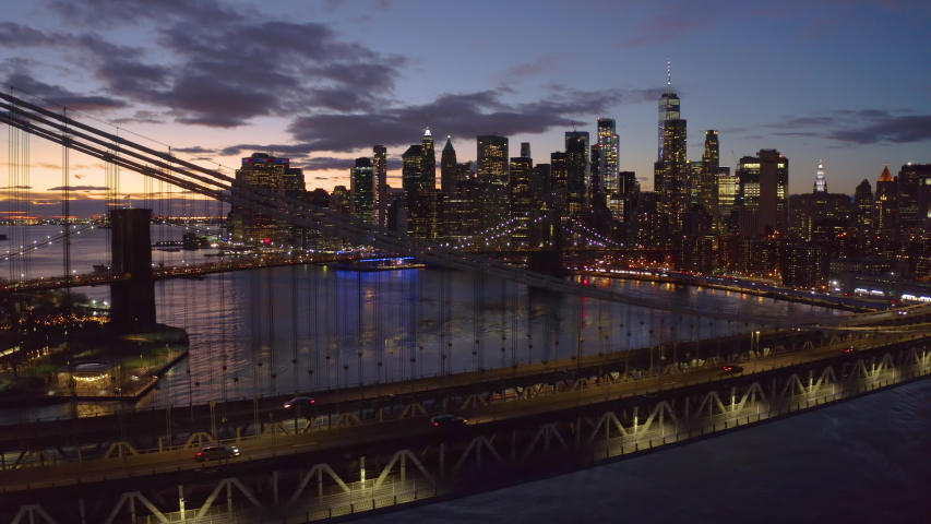 New York City downtown buildings skyline aerial evening sunset | Shutterstock HD Video #1046444509