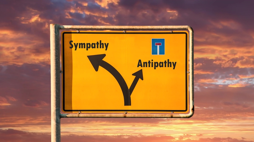 Street Sign the Way to Sympathy versus Antipathy | Shutterstock HD Video #1046456209