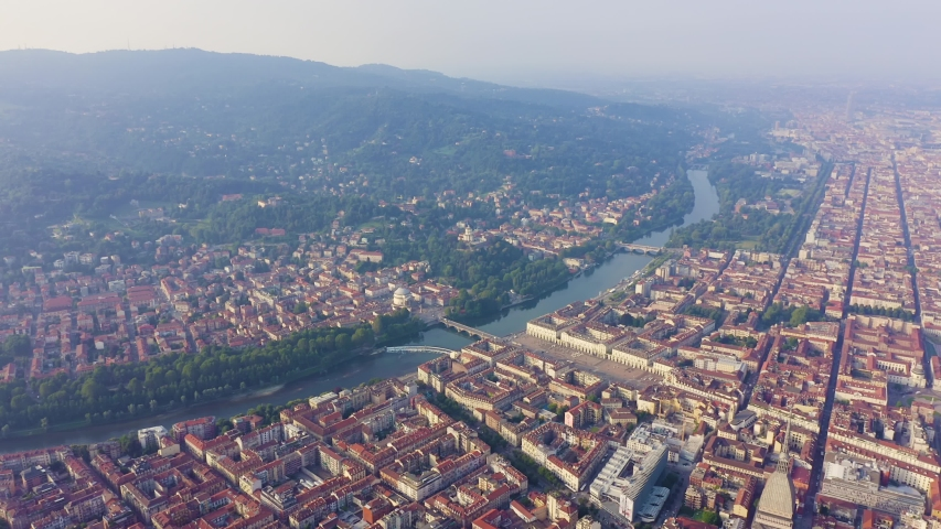 Turin, Italy. Flight over the city. Historical center, top view, Aerial View | Shutterstock HD Video #1046734069