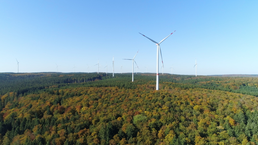 Aerial view of forest with wind turbines, Swabian Alb,Germany | Shutterstock HD Video #1046743759
