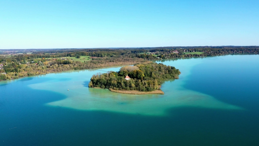 Aerial view of Lake Woerth with Maus Island, Bavaria, Germany | Shutterstock HD Video #1046743849