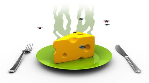 Cheese on a Plate. 3D animation in cartoon style. Alpha channel, loopable.