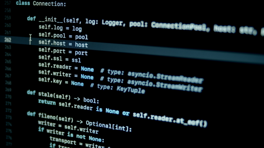 4.7 Scroll and type python py programming code on laptop screen   Shutterstock HD Video #1046831419