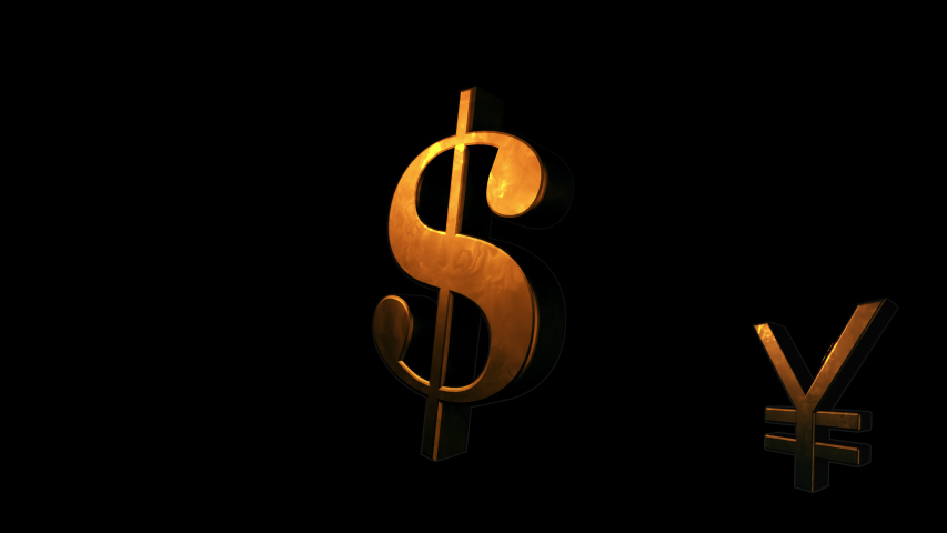 Golden currency symbols of the Euro, Dollar, Japanese Yen and Pound Sterling pop up in a seamlessly looping video. The video is rendered in 60FPS for extra smooth playback and has a transparent background | Shutterstock HD Video #1046845699