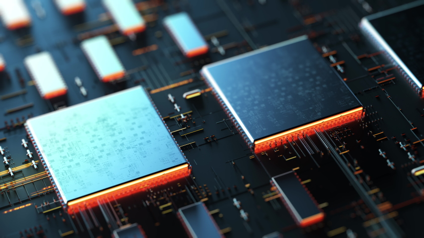 Code processing in circuit board abstract server. Data moves in the form of moving lines. The movement and processing of data inside a server or computer. 3d rendering/Printed circuit board   Shutterstock HD Video #1046855569