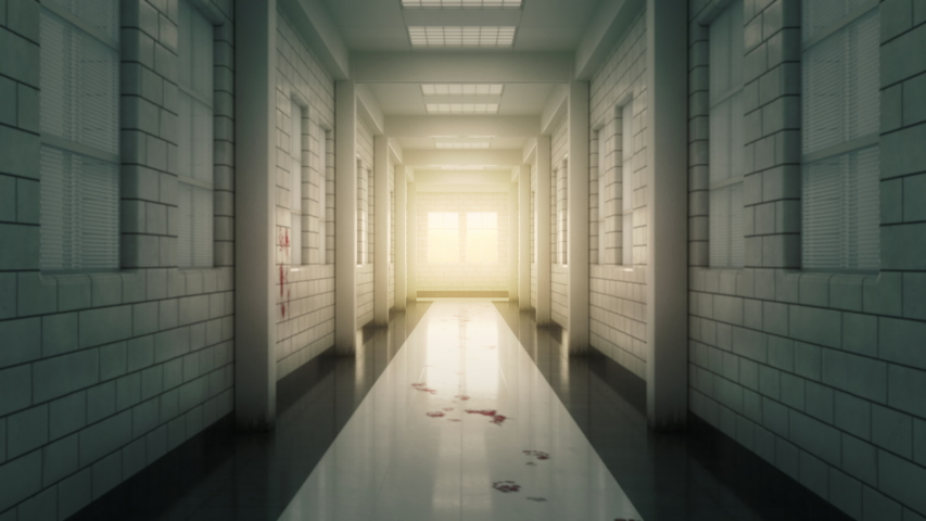 Gloomy white corridor in a psychiatry clinic. Terrible stains and traces of blood on the floor and walls. Camera movement along the corridors with a slight sway. | Shutterstock HD Video #1046906059