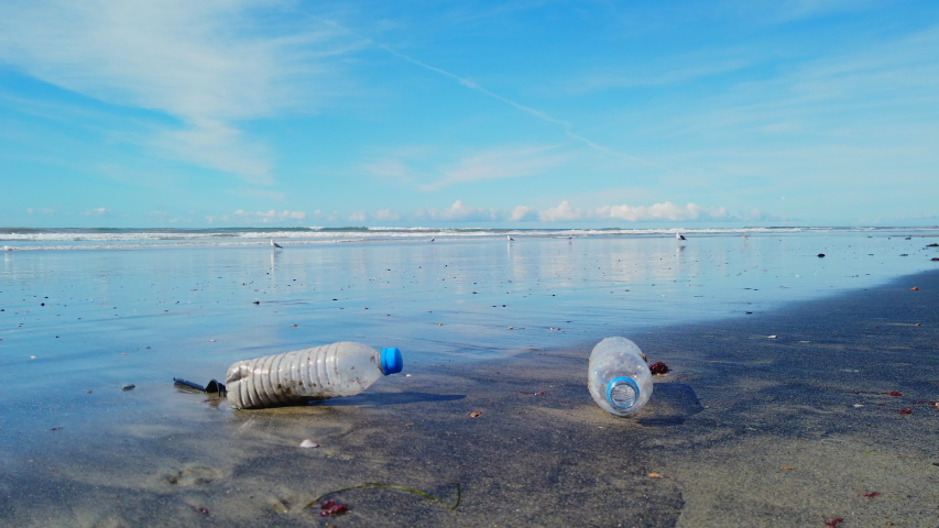 Two plastic bottles and a fork discarded on a beach with waves and birds under blue skies.  | Shutterstock HD Video #1046937379