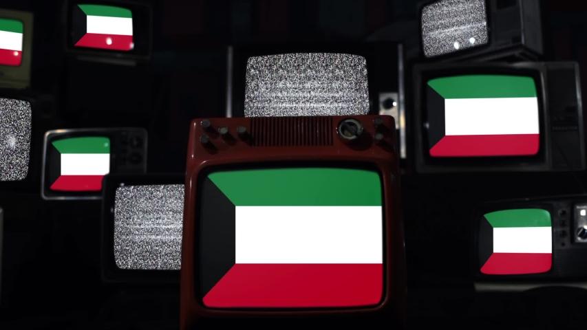 Kuwait Flag On A Retro TV Wall. Zoom In. | Shutterstock HD Video #1046939869