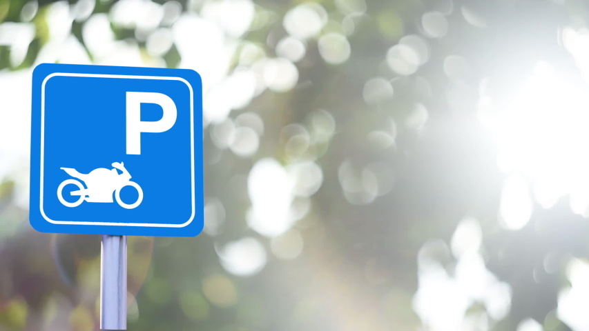 Sign park motorcycle background bokeh nature blur | Shutterstock HD Video #1046946859