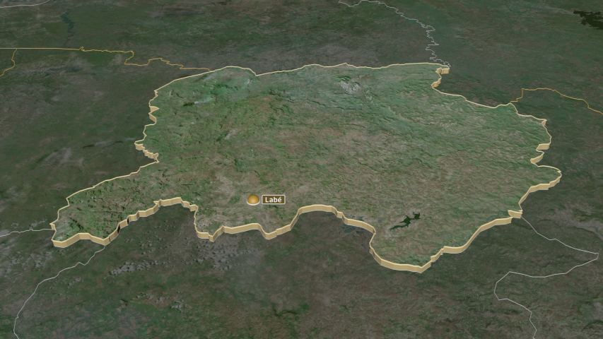 Labé, region with its capital, zoomed and extruded on the satellite map of Guinea in the conformal Stereographic projection | Shutterstock HD Video #1047014179