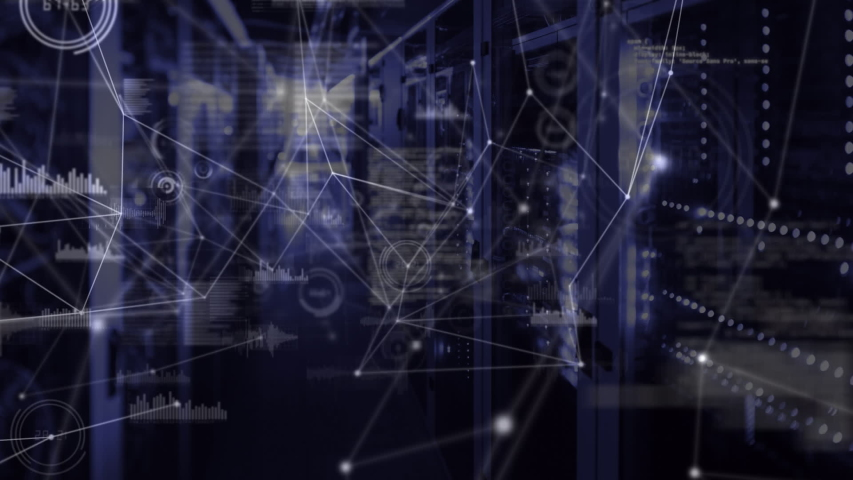 Animation of network of connections, data processing and digital information flowing through network of computer servers in a server room. Global network of internet service provider or data | Shutterstock HD Video #1047231259