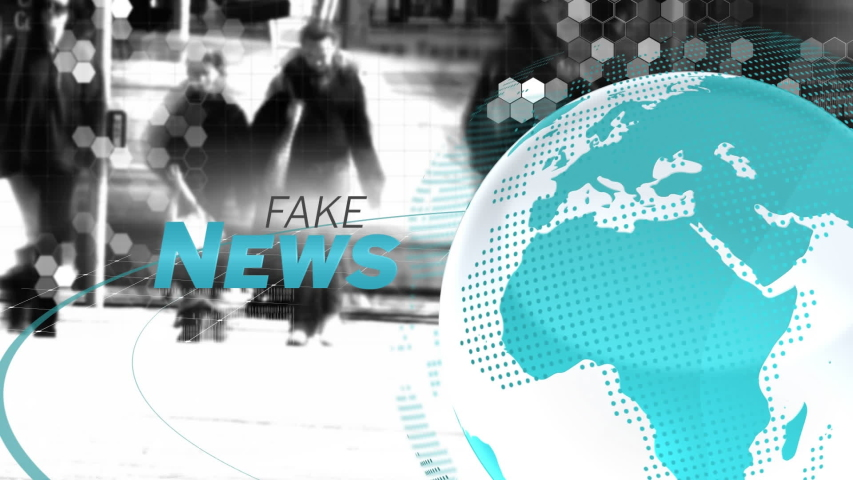 Animation of the words Fake News written in grey and blue, white and blue digital globe rotating, information processing with pedestrian commuters walking in the background. Global technology media | Shutterstock HD Video #1047238279