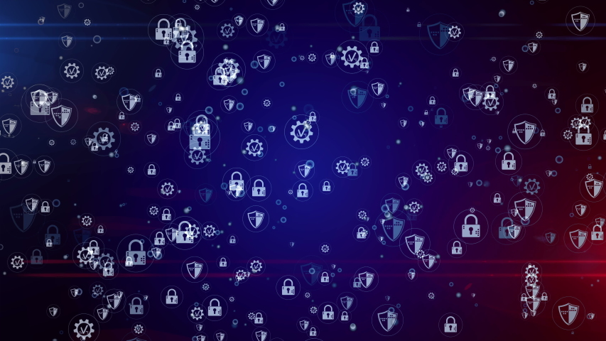 Cyber security, digital protection, cyberspace, computer safety with shield and padlock symbols seamless and loopable digital background. Abstract bubble icons concept animation 3d rendering.   Shutterstock HD Video #1047332839