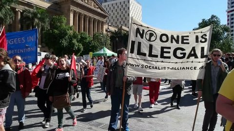 BRISBANE, AUSTRALIA - JUNE 20 :Street marchers during World Refugee Rally June 20, 2015 in Brisbane, Australia