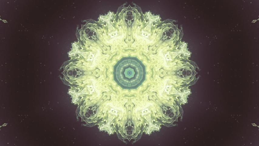 Beautiful Motion Illustration Dark Green Blue and Yellow Mandala Flower  | Shutterstock HD Video #1047950839