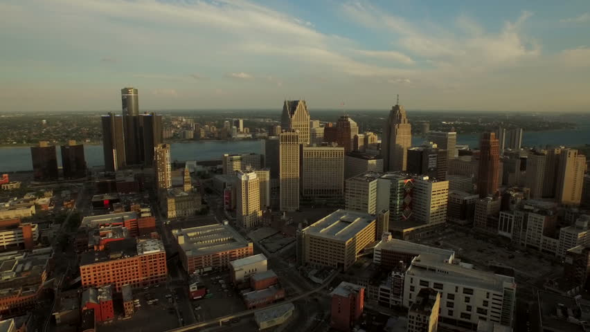 Detroit Aerial v41 Flying low side view over downtown with cityscape views. 5/15