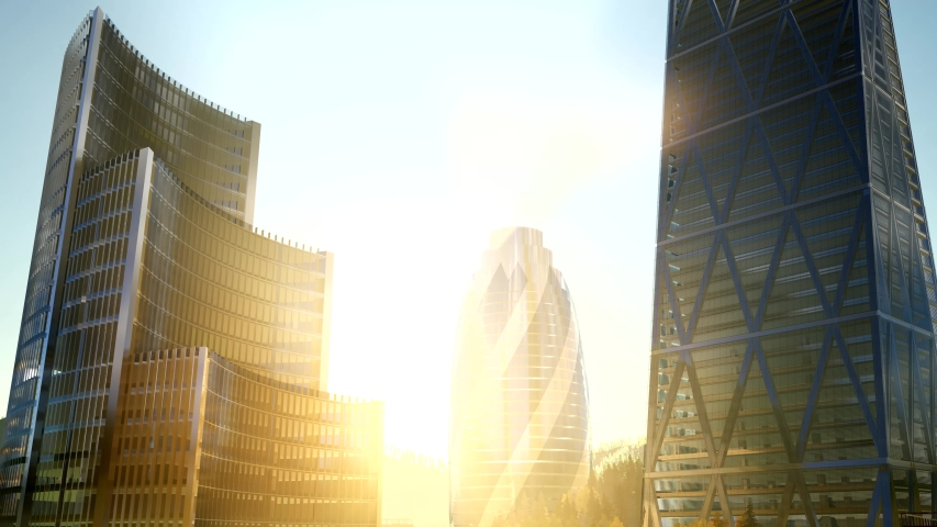 City skyscrapes with lense flairs at sunset | Shutterstock HD Video #1049332459