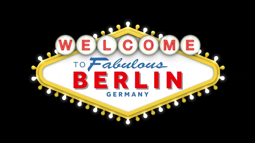 Welcome to Berlin sign in classic retro las vegas style design . 3D Render | Shutterstock HD Video #1049469469