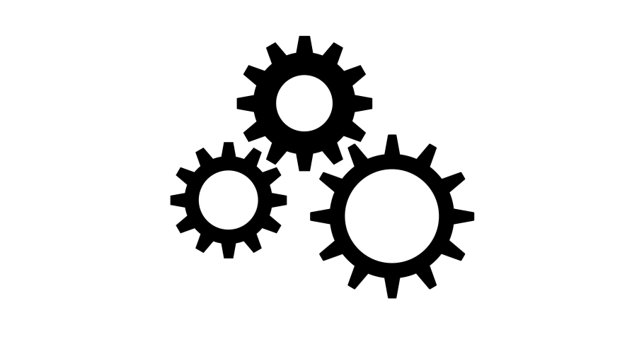 Simple seamless looping animation of three spinning black gears, on white background.   Shutterstock HD Video #1049528269