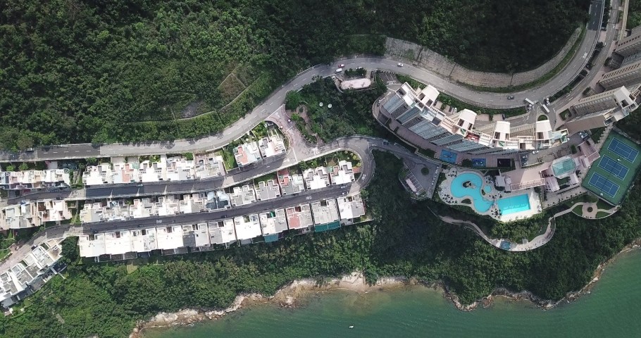 Aerial view of the Redhill Peninsula of Hong Kong | Shutterstock HD Video #1049561059