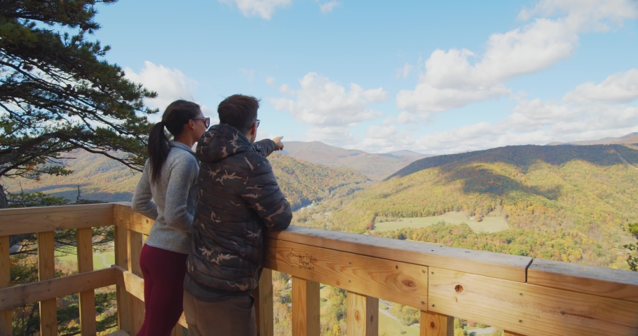Couple at the Top of Seneca Rocks, West Virginia, View of Landscape | Shutterstock HD Video #1049616439