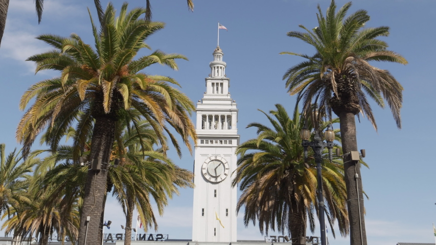 Close up of the clock tower of the san francisco ferry building in northern california, usa | Shutterstock HD Video #1049633689