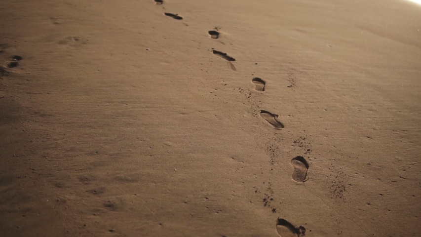 Tracking closeup footage of footprints on the golden wet sand at beach | Shutterstock HD Video #1049661499