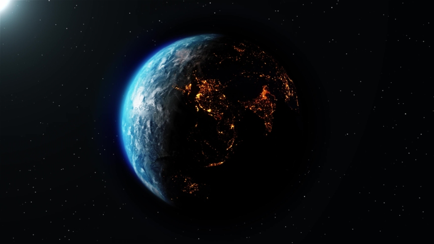 Realistic Motion Graphics of Planet Earth Rotating in the Night Starfield Intros, Endings, Logo Presentation, Background | Shutterstock HD Video #1049685079