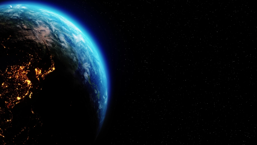 Realistic Motion Graphics of Planet Earth Rotating in the Night Starfield Intros, Endings, Logo Presentation, Background | Shutterstock HD Video #1049685109