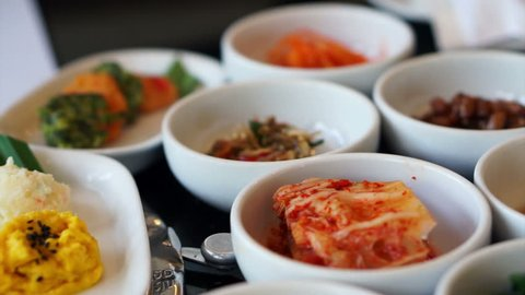 Traditional Korean side dishes food, many menu