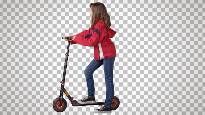 Little girl stands with the scooter. Cut out video shooting on green screen. File format - mov. Codec - PNG+Alpha. Combine these footage with your background or other people