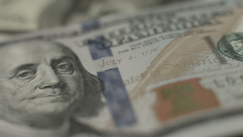 Close look at U.S. one hundred-dollar note, American paper money