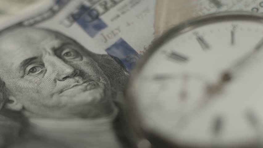 American dollars, money, time running. Benjamin Franklin closeup   Shutterstock HD Video #10544339