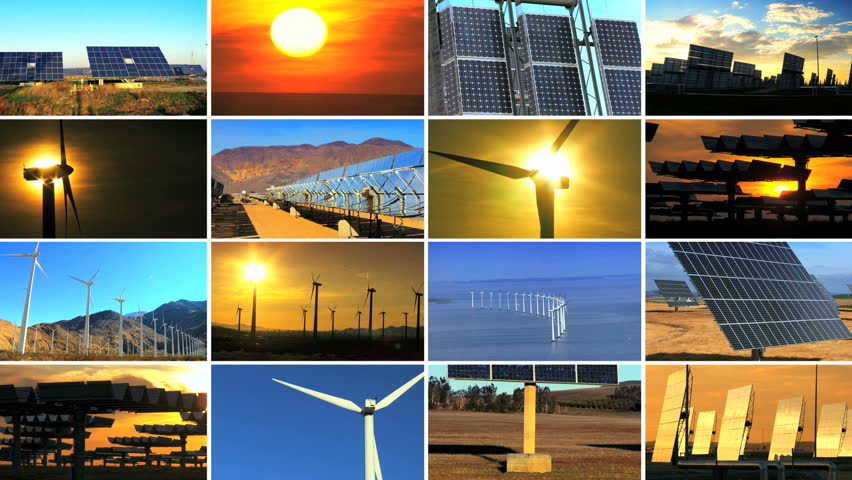 Montage of multiple images of wind turbines & solar panels producing clean sustainable energy during the day & sunset