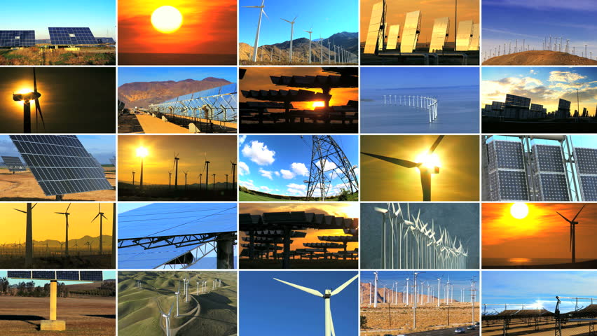 Montage of multiple images showing wind & solar power producing environmentally clean & sustainable energy