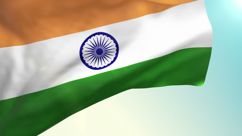 For Indian Flag Hd Animation: Indian Flag Waving Over A Blue Cloudy Sky Stock Footage