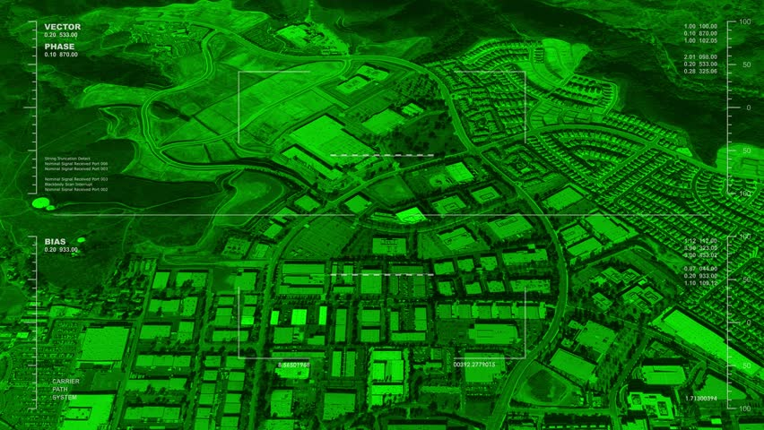 Night Vision Aerial Surveillance Drone UAV Flyover Of An Urban Area With A River Reversible Seamless Loop Available In DCI 2K 4K By Request