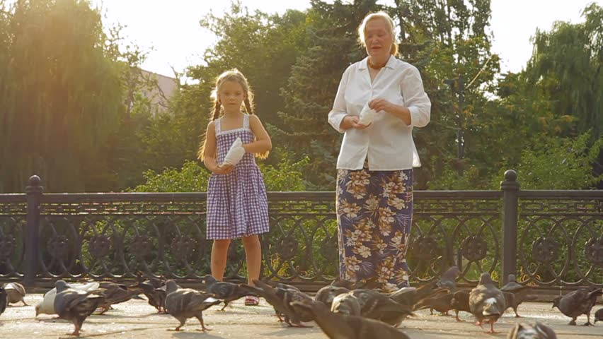 Grandmother and little girl in a park feeding pigeons crumbs. Slow motion video.