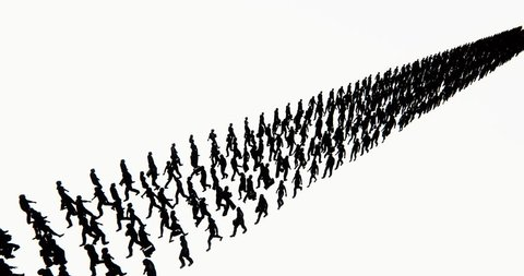 4k Crowd Of People walking turned into a row array,businessman silhouette,army matrix. cg_02725_4k