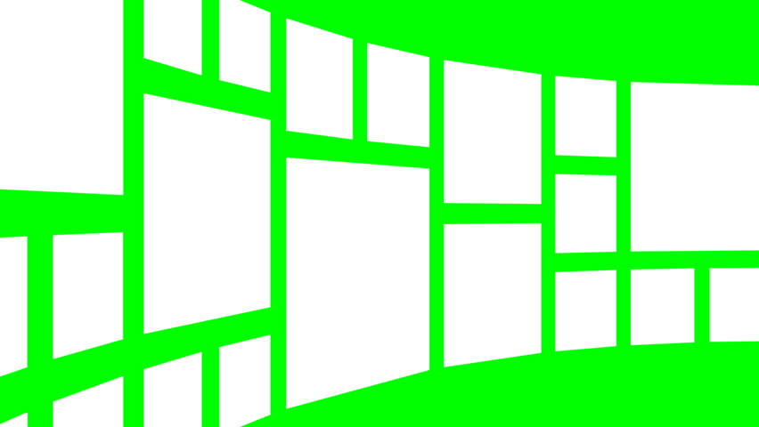 Abstract white square panels rotating cylindrically against a green screen, final zoom-in for custom content placement