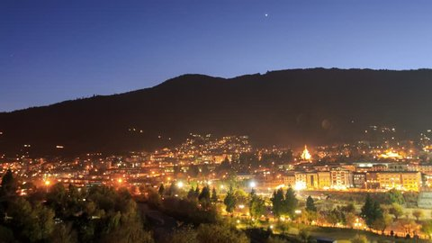 Timelapse from sunset until night of City of Thimphu, Capital city of Bhutan.