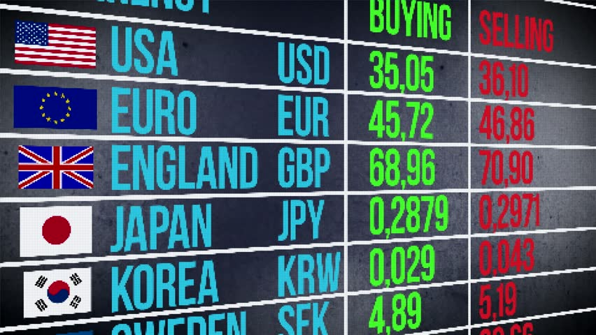 Currency Trade Billboard Modern Electronic Database Of Market Data Animation